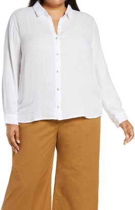 Eileen Fisher Organic Cotton Button-Up Shirt