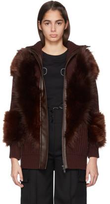 Stella McCartney Burgundy Faux-Fur Mix Zip-Up Sweater