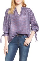 Madewell Women's Plaid Tie Sleeve Popover Top