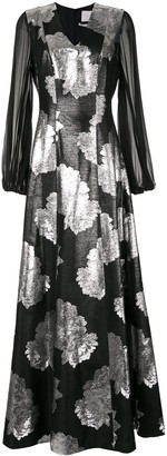 Ingie Paris Floral Jacquard Maxi Dress