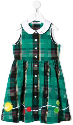 Familiar Embroidered-Fruit Plaid Dress