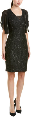 St. John Silk-Trim Wool-Blend Sheath Dress