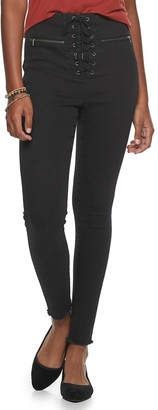 Love, Fire Juniors' Lace Up Skinny Jeans