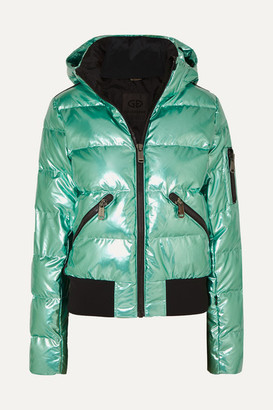 Goldbergh Aura Hooded Appliqued Quilted Metallic Down Ski Jacket