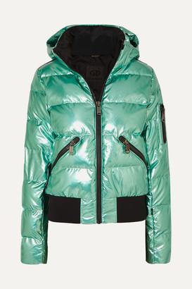 Goldbergh Aura Hooded Appliqued Quilted Metallic Down Ski Jacket - Green
