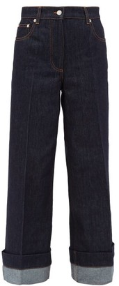 J.W.Anderson Logo-embroidered Wide-leg Jeans - Dark Denim