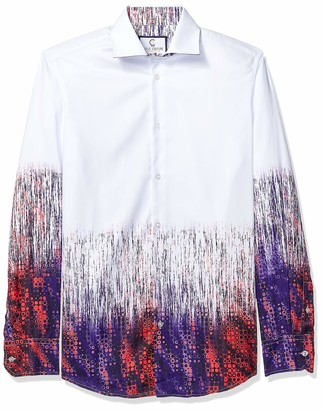 Azaro Uomo Men's Long Sleeve Dress Shirt Gradient Casual Button Down Fitted