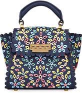 Zac Posen Multicolored Floral Cutout Top Handle Satchel Bag
