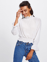 Shein Elastic Cuff And Waist Textured Blouse