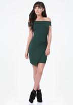 Bebe Off Shoulder Wrap Dress