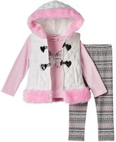 Little Lass Toddler Girl Hooded Vest, Foil Butterfly Tee & Patterned Leggings Set