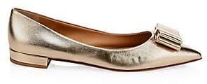 Salvatore Ferragamo Women's Zeri Metallic Point Toe Bow Flats