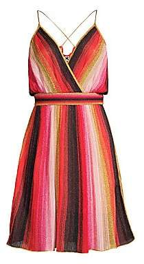 M Missoni Women's Metallic Stripe Sleeveless A-Line Dress