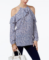 MICHAEL Michael Kors Printed Flounce Cold-Shoulder Top, A Macy's Exclusive Style