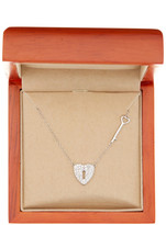 Argentovivo Sterling Silver Heart & Key Necklace