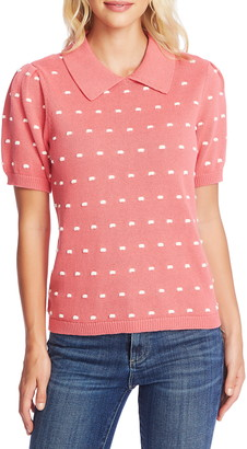Cece By Cynthia Steffe Short Sleeve Mini Pompom Collared Puff Sleeve Sweater