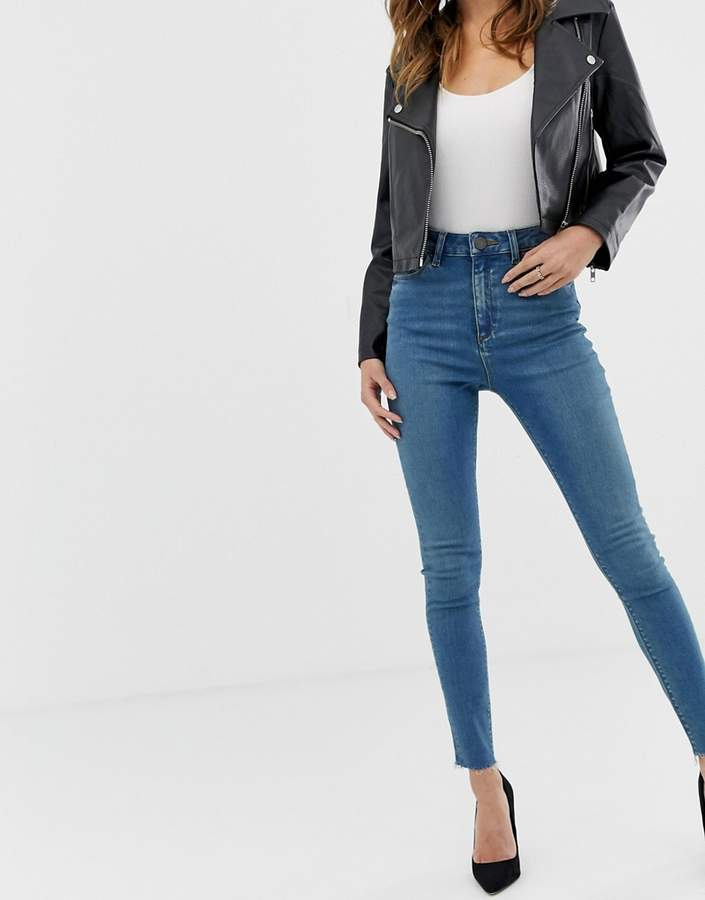 Asos Design DESIGN Ridley high waisted skinny jeans in aged wash blue