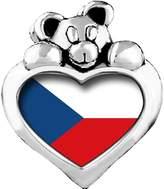 GiftJewelryShop Czech Republic flag Sapphire Crystal September Birthstone I Love You Heart Care Bear Charm Bracelets