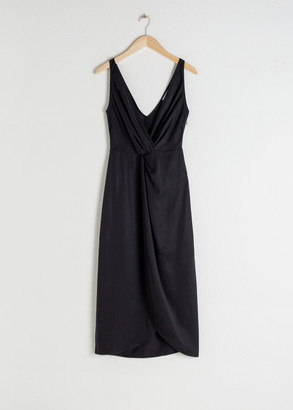 And other stories Sleeveless Lyocell Twist Knot Midi Dress