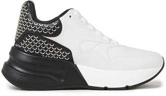Alexander McQueen Oversized Runner Embellished Two-tone Leather Sneakers