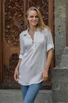 Sheer Grey Rayon Balinese Collar Blouse Pullover from Bali, 'New Grey Tiara'