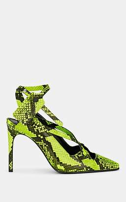 Off-White Women's Snakeskin-Stamped Leather Pumps - Green