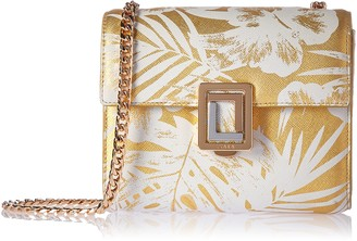 Luana Italy Women's Marella Mini Chain Crossbody Leather Handbag Gold Palm