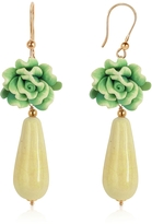Murano House of Green Rose Glass Drop Earrings