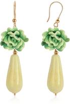 Murano House of Green Rose Glass Drop Earrings