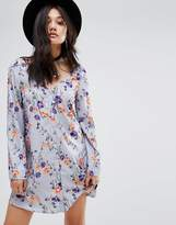 Glamorous Button Front Long Sleeve Swing Dress
