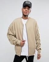Asos Oversized Jersey Bomber Jacket In Slub With Ruched Sleeves