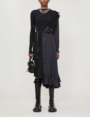 Sacai Pleated cotton-knit and satin midi dress