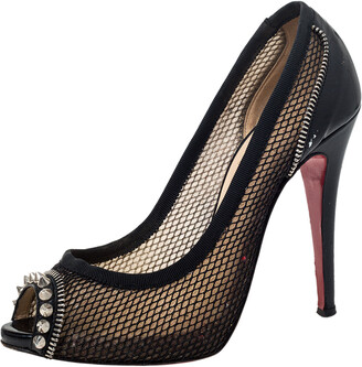 Christian Louboutin Black Mesh And Patent Leather Spiked Shawnita Peep Toe Pumps Size 37.5