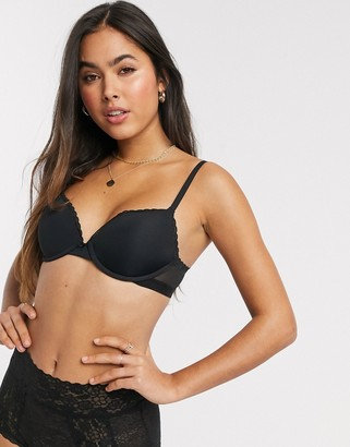 aerie real happy plunge push up basic bra in black