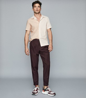 Reiss Twitch - Striped Cuban Collar Shirt in Pink/ White