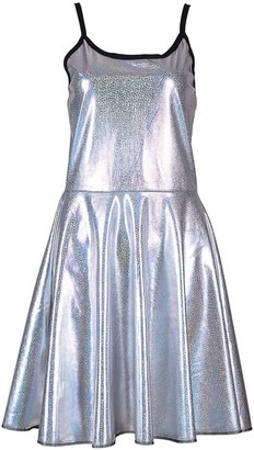 BFD One Shiny Metallic Womens Sleeveless Stretch Mermaid Scale Print Festival Party Skater Dress Size 10 or 12 Turquoise Scale Rainbow Scale Silver Or Gold Holographic Hand Wash (Gold S/M)