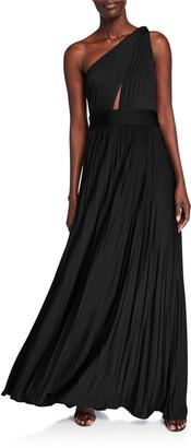 Jill by Jill Stuart Cibele Pleated 1-Shoulder Jersey Gown
