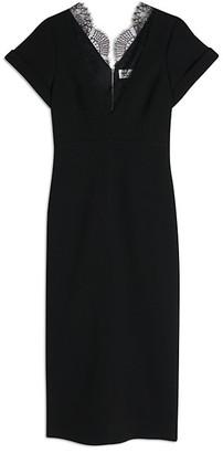 Victoria Beckham V-Neck Lace Jersey Sheath Dress