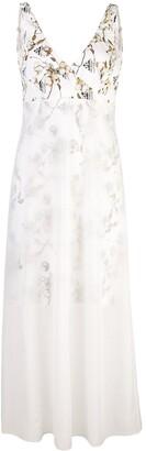 Off-White layered floral chiffon slip dress