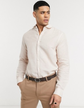 Asos DESIGN regular fit linen shirt with penny collar in light pink