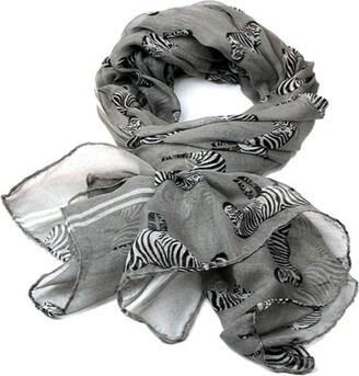 Mymusu Scarf Hot Zebra Print Scarf Animal Fashion Scarves (Grey)
