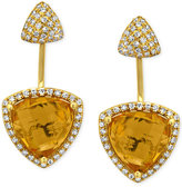 Effy Citrine (6-1/5 ct. t.w.) and Diamond (5/8 ct. t.w.) Earrings in 14k Gold