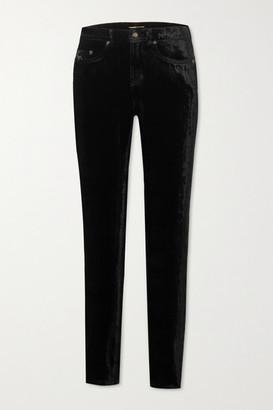 Saint Laurent Stretch-velvet Skinny Pants - Black