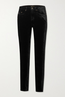 Saint Laurent Stretch-velvet Skinny Pants - Black