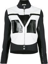 Courreges pinstripe sleeve biker jacket - women - Polyester/Polyurethane - 38