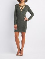 Charlotte Russe Shimmer Lattice-Front Bodycon Dress