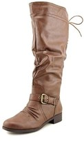 XOXO Marcher Wide Calf Round Toe Synthetic Knee High Boot.