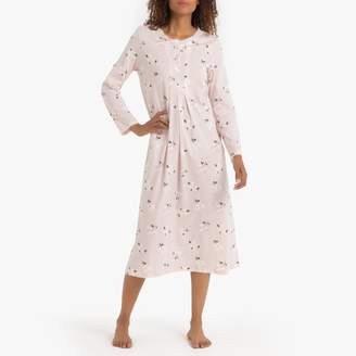 La Redoute Collections Floral Print Cotton Nightdress with Long Sleeves
