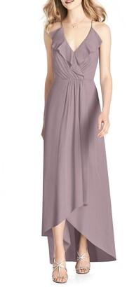 Jenny Packham Ruffle High/Low Chiffon Gown