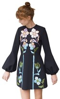Cynthia Rowley Rainbow Leather Applique Bell Sleeve Dress